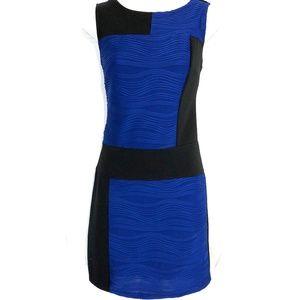 CYNTHIA ROWLEY Blue & Black Stretch Knit Dress ~ 6